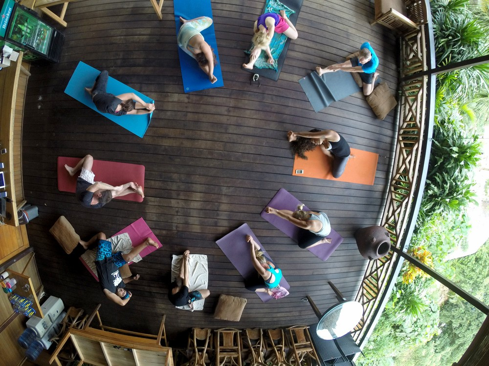 Yin yoga and diving and Living Colours Diving Resort